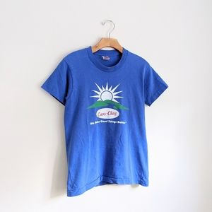 Vtg Soft Bright Blue Sun Burst Logo Tee Shirt XS